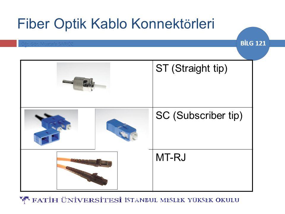 BİLG 121 Fiber Optik Kablo Konnekt ö rleri ST (Straight tip) SC (Subscriber tip) MT-RJ