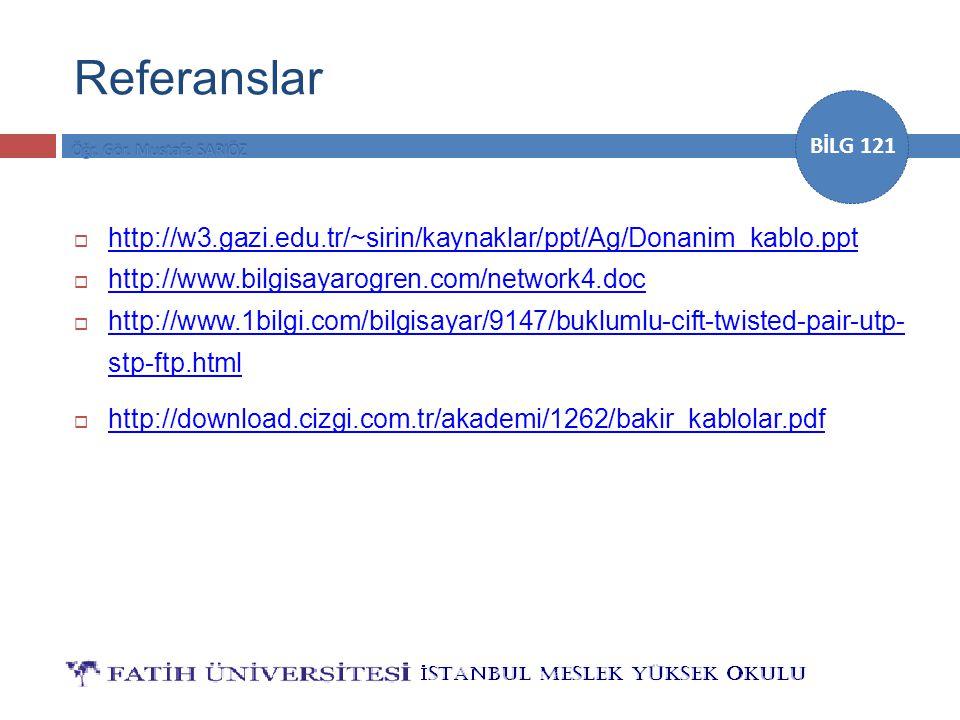 BİLG 121 Referanslar  http://w3.gazi.edu.tr/~sirin/kaynaklar/ppt/Ag/Donanim_kablo.ppt http://w3.gazi.edu.tr/~sirin/kaynaklar/ppt/Ag/Donanim_kablo.ppt