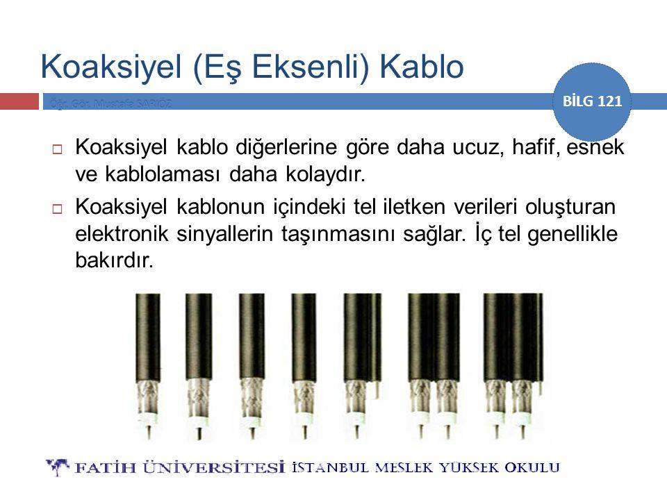 BİLG 121 Koaksiyel (Eş Eksenli) Kablo  Koaksiyel kablo diğerlerine göre daha ucuz, hafif, esnek ve kablolaması daha kolaydır.  Koaksiyel kablonun iç