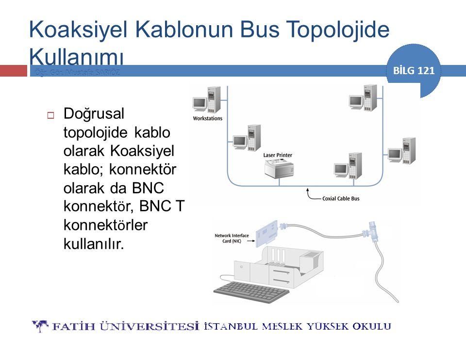 BİLG 121  Doğrusal topolojide kablo olarak Koaksiyel kablo; konnektör olarak da BNC konnekt ö r, BNC T konnekt ö rler kullanılır. Koaksiyel Kablonun