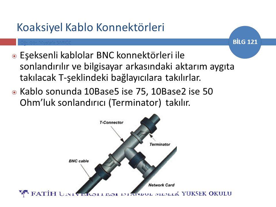 BİLG 121 Koaksiyel Kablo Konnektörleri  Eşeksenli kablolar BNC konnektörleri ile sonlandırılır ve bilgisayar arkasındaki aktarım aygıta takılacak T-ş