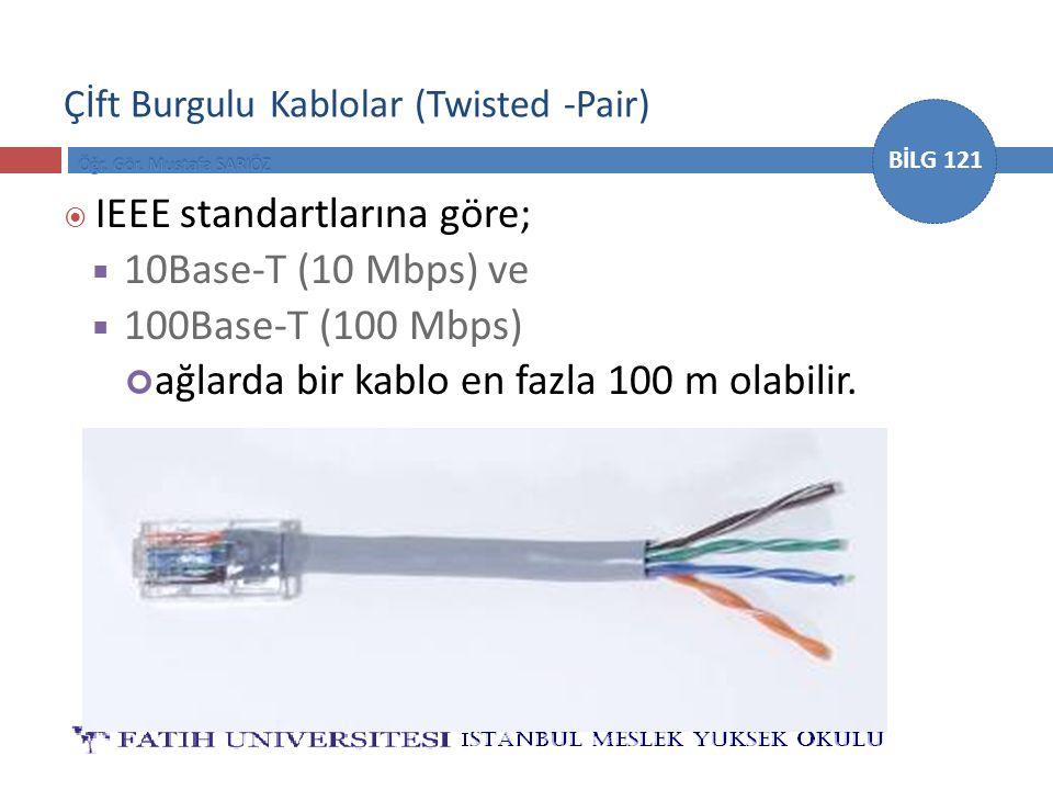 BİLG 121 Çİft Burgulu Kablolar (Twisted -Pair)  IEEE standartlarına göre;  10Base-T (10 Mbps) ve  100Base-T (100 Mbps) ağlarda bir kablo en fazla 1