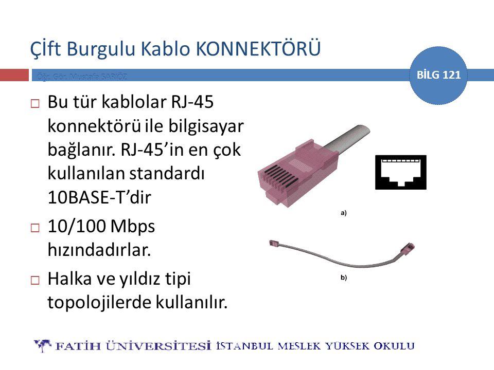 BİLG 121 Çİft Burgulu Kablo KONNEKTÖRÜ  Bu tür kablolar RJ-45 konnektörü ile bilgisayar bağlanır. RJ-45'in en çok kullanılan standardı 10BASE-T'dir 