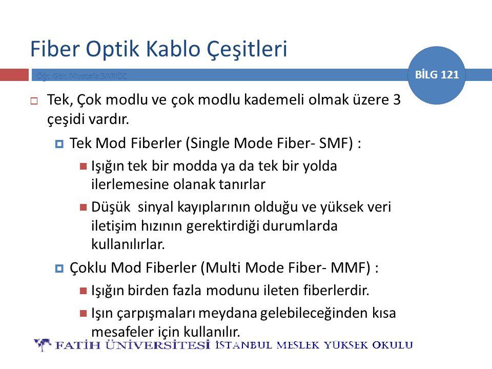 BİLG 121 Fiber Optik Kablo Çeşitleri  Tek, Çok modlu ve çok modlu kademeli olmak üzere 3 çeşidi vardır.  Tek Mod Fiberler (Single Mode Fiber- SMF) :
