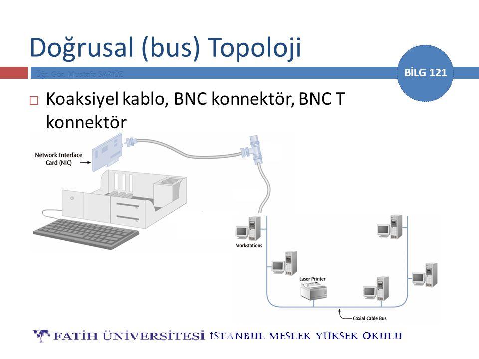 BİLG 121 Doğrusal (bus) Topoloji  Koaksiyel kablo, BNC konnektör, BNC T konnektör