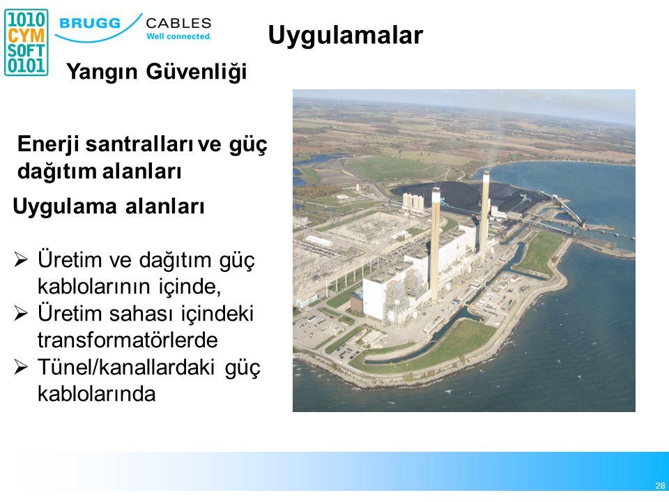 28 Enerji santralları ve güç dağıtım alanları Uygulama alanları  Üretim ve dağıtım güç kablolarının içinde,  Üretim sahası içindeki transformatörlerde  Tünel/kanallardaki güç kablolarında Yangın Güvenliği Uygulamalar