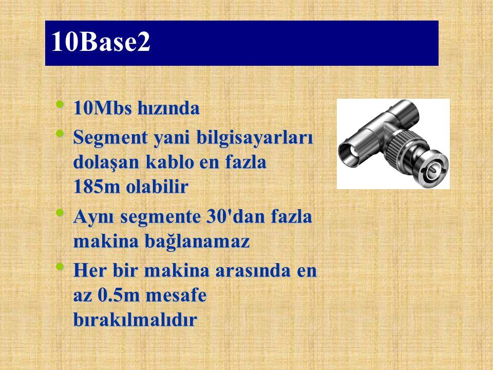10Base2 10Mbs hızında 10Mbs hızında Segment yani bilgisayarları dolaşan kablo en fazla 185m olabilir Segment yani bilgisayarları dolaşan kablo en fazl