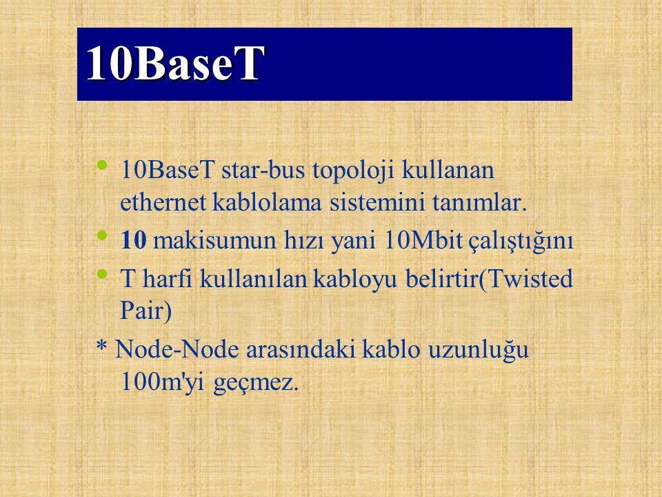 10BaseT 10BaseT star-bus topoloji kullanan ethernet kablolama sistemini tanımlar. 10 makisumun hızı yani 10Mbit çalıştığını T harfi kullanılan kabloyu