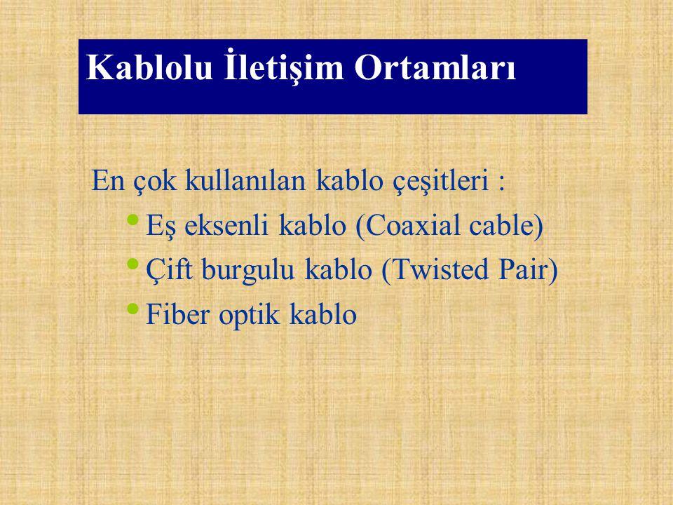 Kablolu İletişim Ortamları En çok kullanılan kablo çeşitleri : Eş eksenli kablo (Coaxial cable) Çift burgulu kablo (Twisted Pair) Fiber optik kablo