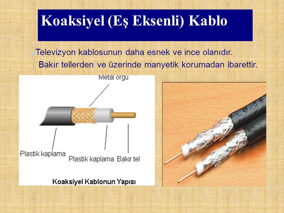 Koaksiyel (Eş Eksenli) Kablo Televizyon kablosunun daha esnek ve ince olanıdır. Bakır tellerden ve üzerinde manyetik korumadan ibarettir.
