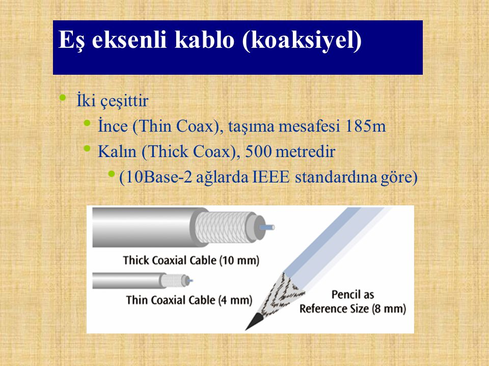 Koaksiyel Kablo Tipleri TİPEMPEDANSKULLANIM RG-850 Ohm10BASE-5 (Kalın-Thicknet) - 500 m RG-5850 Ohm10BASE-2* (İnce-Thinnet) - 185 m RG-5975 OhmKablo TV RG-675 OhmAnten kablosu