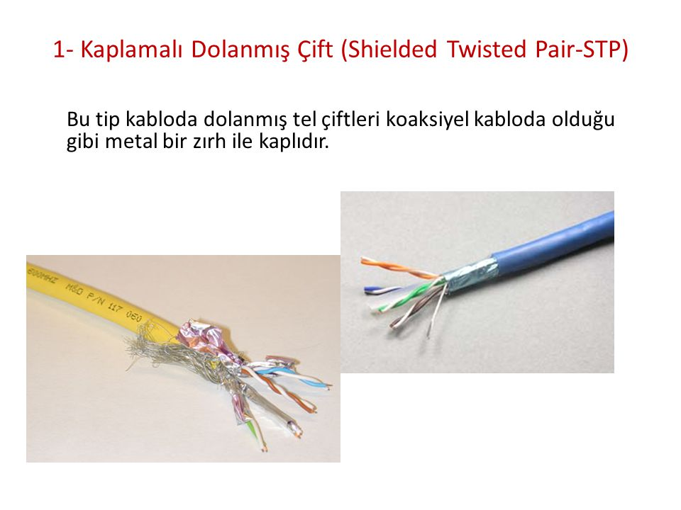 1- Kaplamalı Dolanmış Çift (Shielded Twisted Pair-STP) Bu tip kabloda dolanmış tel çiftleri koaksiyel kabloda olduğu gibi metal bir zırh ile kaplıdır.