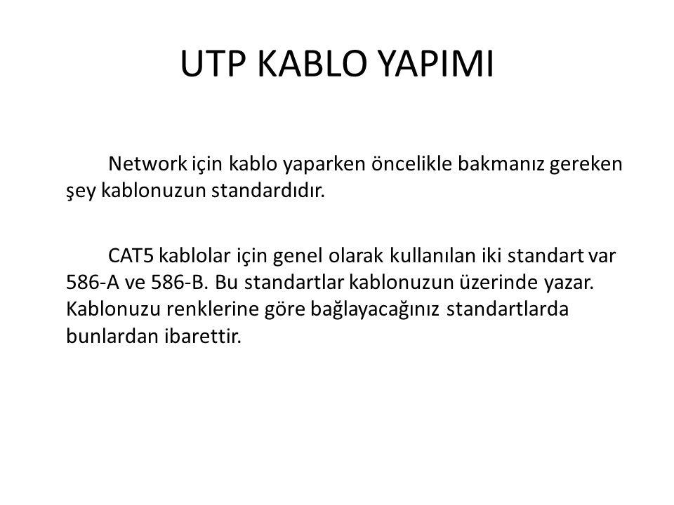 UTP KABLO YAPIMI Network için kablo yaparken öncelikle bakmanız gereken şey kablonuzun standardıdır. CAT5 kablolar için genel olarak kullanılan iki st