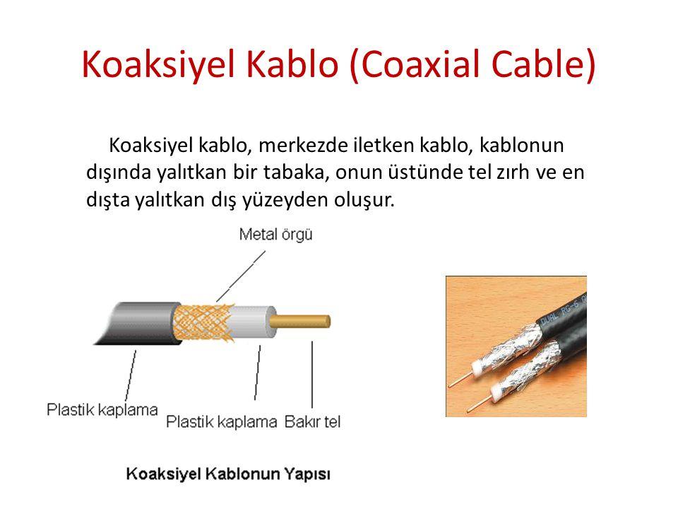 Koaksiyel Kablo (Coaxial Cable) Koaksiyel kablo, merkezde iletken kablo, kablonun dışında yalıtkan bir tabaka, onun üstünde tel zırh ve en dışta yalıt