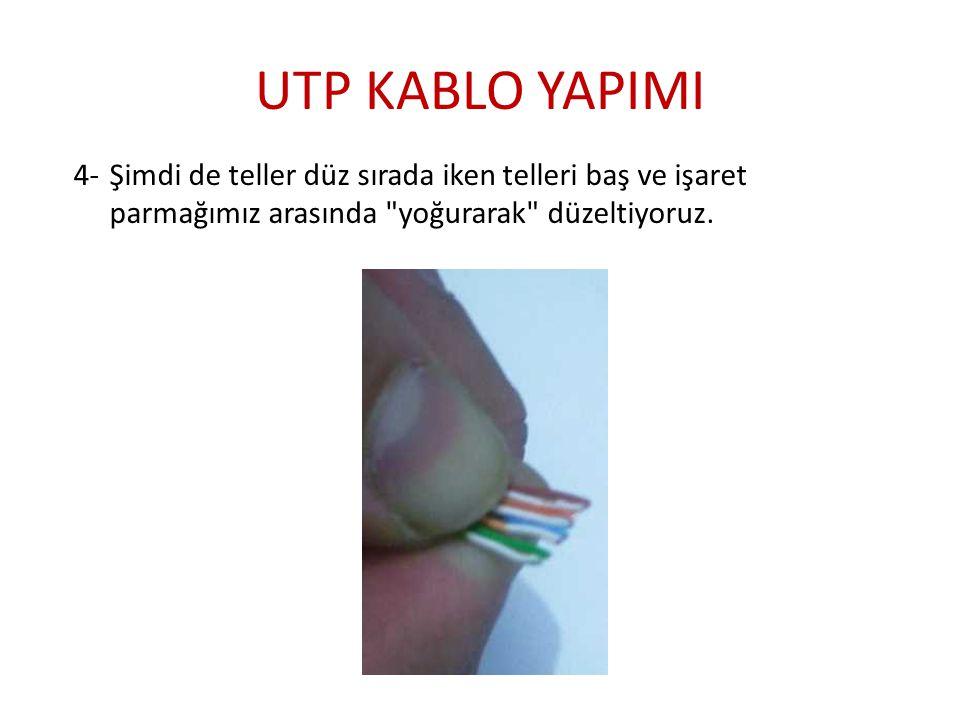 UTP KABLO YAPIMI 4-Şimdi de teller düz sırada iken telleri baş ve işaret parmağımız arasında