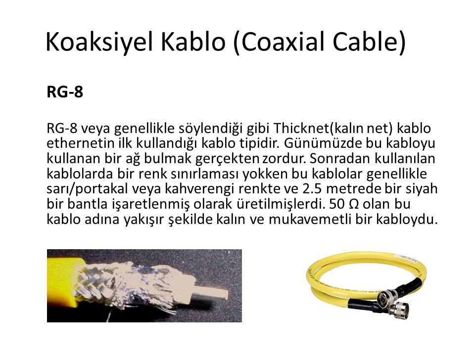 Koaksiyel Kablo (Coaxial Cable) RG-8 RG-8 veya genellikle söylendiği gibi Thicknet(kalın net) kablo ethernetin ilk kullandığı kablo tipidir. Günümüzde