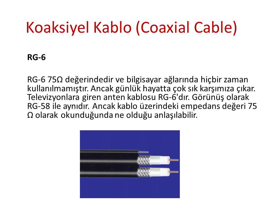 Koaksiyel Kablo (Coaxial Cable) RG-6 RG-6 75Ω değerindedir ve bilgisayar ağlarında hiçbir zaman kullanılmamıştır. Ancak günlük hayatta çok sık karşımı
