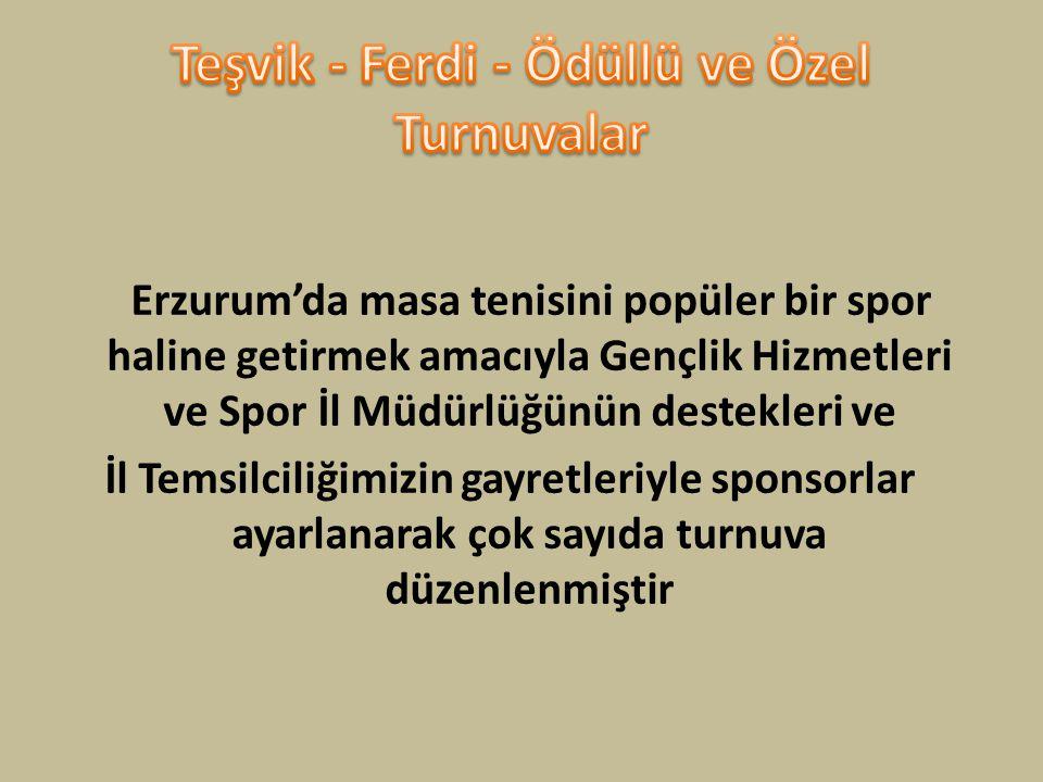 Erzurum'da masa tenisini popüler bir spor haline getirmek amacıyla Gençlik Hizmetleri ve Spor İl Müdürlüğünün destekleri ve İl Temsilciliğimizin gayre