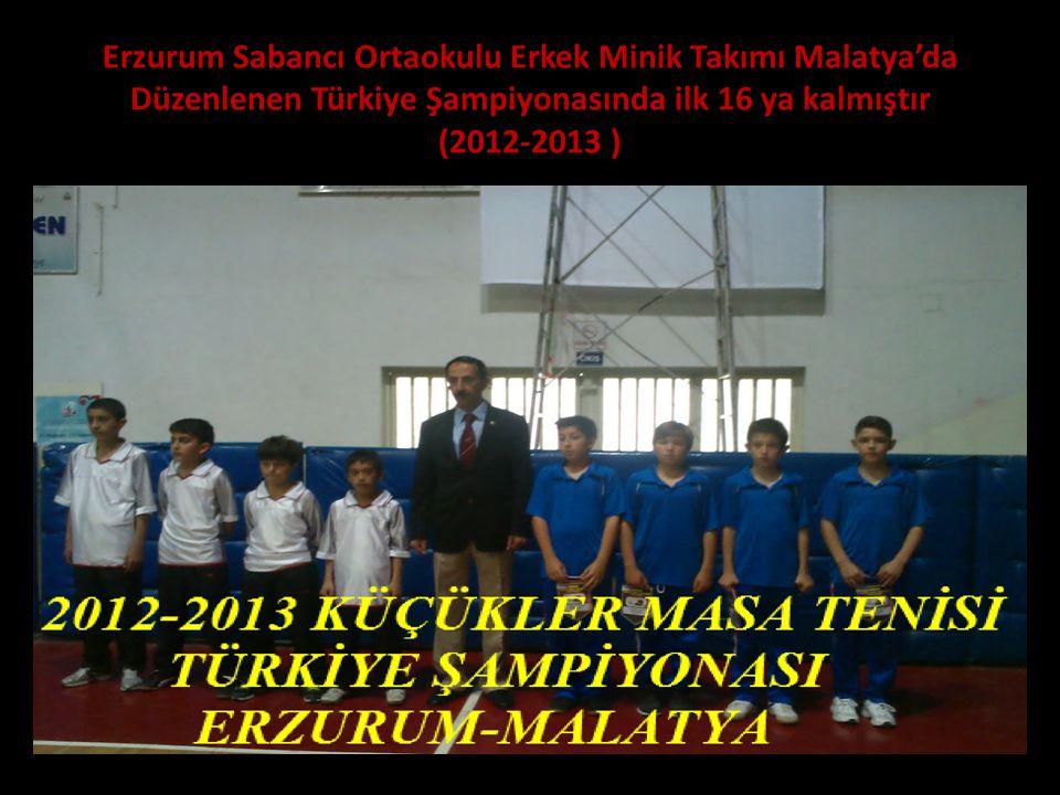 Erzurum Sabancı Ortaokulu Erkek Minik Takımı Malatya'da Düzenlenen Türkiye Şampiyonasında ilk 16 ya kalmıştır (2012-2013 )