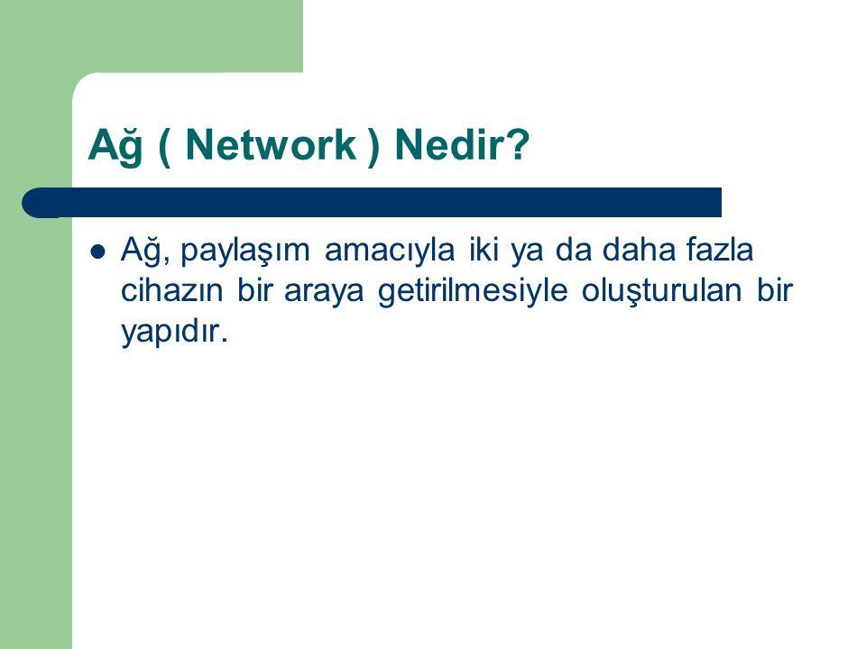 Ağ ( Network ) Nedir? Ağ, paylaşım amacıyla iki ya da daha fazla cihazın bir araya getirilmesiyle oluşturulan bir yapıdır.