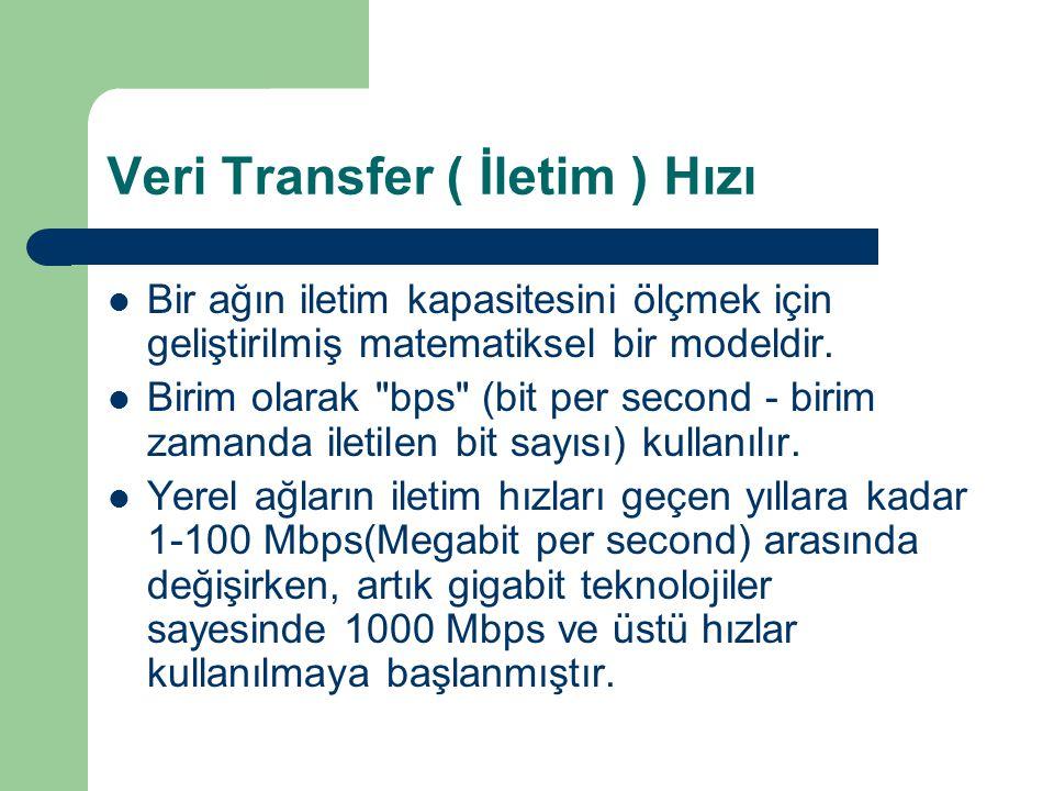 Veri Transfer ( İletim ) Hızı Bir ağın iletim kapasitesini ölçmek için geliştirilmiş matematiksel bir modeldir. Birim olarak
