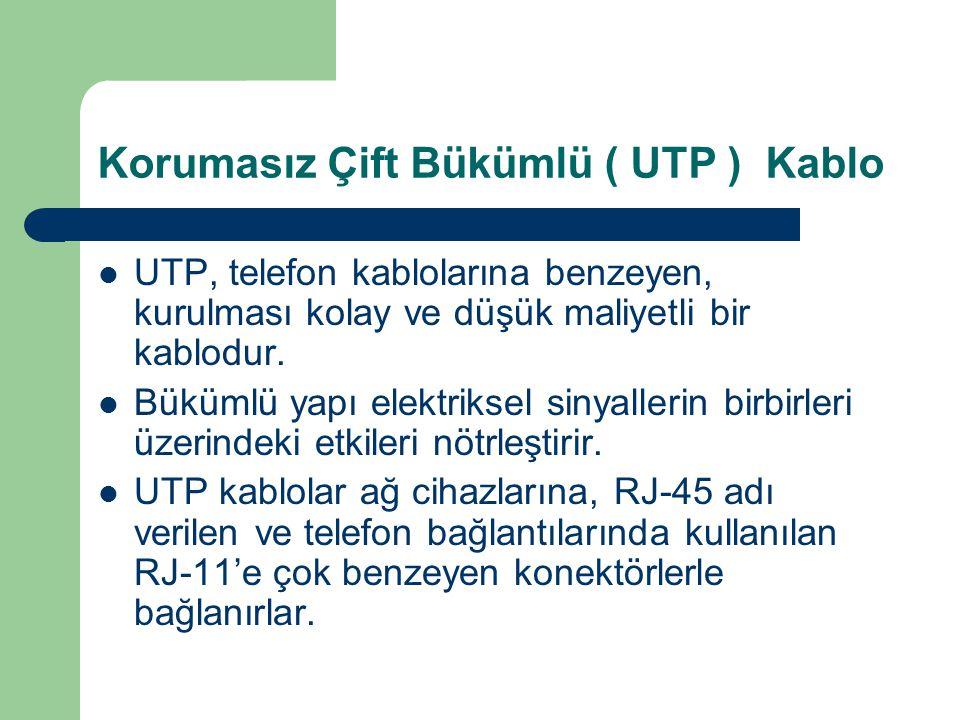 Korumasız Çift Bükümlü ( UTP ) Kablo UTP, telefon kablolarına benzeyen, kurulması kolay ve düşük maliyetli bir kablodur. Bükümlü yapı elektriksel siny