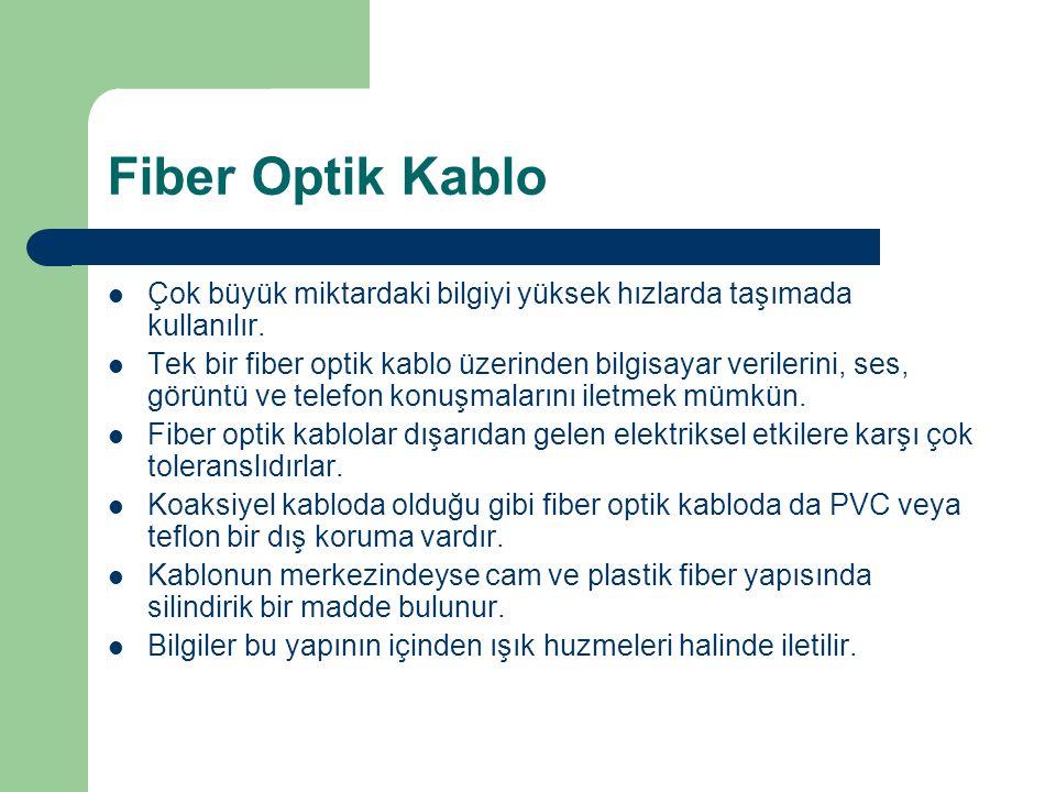 Fiber Optik Kablo Çok büyük miktardaki bilgiyi yüksek hızlarda taşımada kullanılır. Tek bir fiber optik kablo üzerinden bilgisayar verilerini, ses, gö