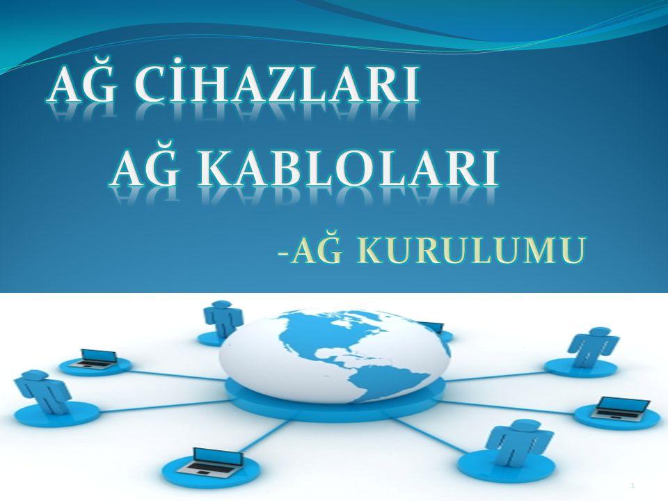 Ağ ortamında bulunması gereken donanımlar -> Ağ kablosu -> Ağ cihazları ( anahtar, yönlendirici vb.) 32 Ağ yapısına uygun kablo seçimleri yapılmalıdır.