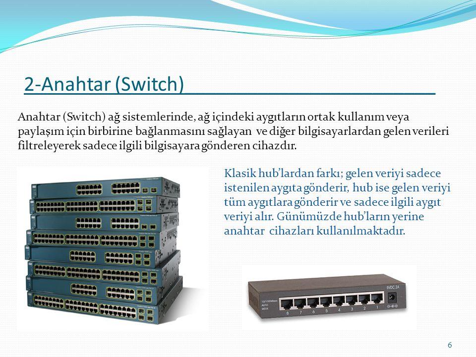 3-Yönlendirici (router)_________________ 7 Yönlendirici (router) temel olarak yönlendirme görevi yapar.