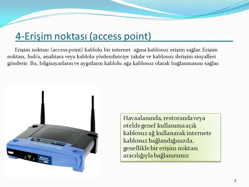 5 - Ağ A rabirim Kartı ( Network Interface Card NIC ) Bilgisayarların ve diğer cihazların bir ağa bağlanmasını sağlayan donanımlara ağ arabirim kartı (NIC- network interface kart) denir.