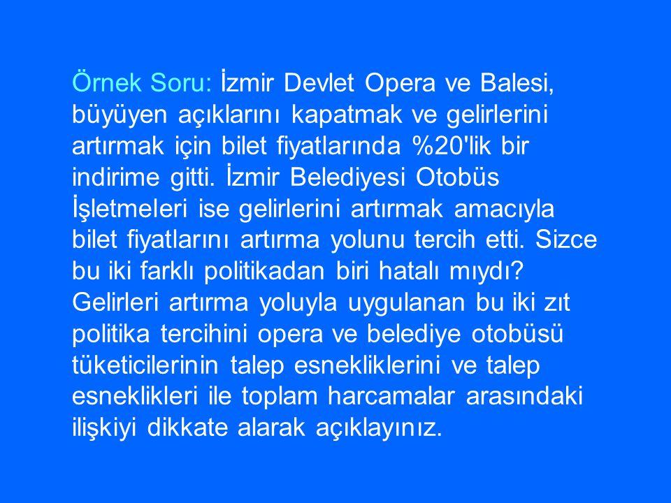 Örnek Soru: İzmir Devlet Opera ve Balesi, büyüyen açıklarını kapatmak ve gelirlerini artırmak için bilet fiyatlarında %20'lik bir indirime gitti. İzmi