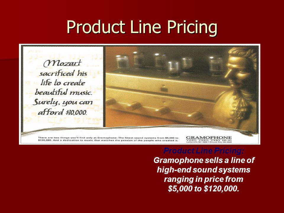 Product Line Pricing Product Line Pricing: Gramophone sells a line of high-end sound systems ranging in price from $5,000 to $120,000.