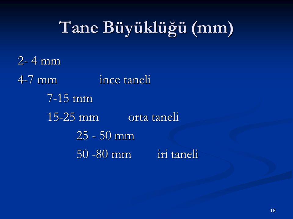 18 Tane Büyüklüğü (mm) 2- 4 mm 4-7 mm ince taneli 7-15 mm 15-25 mm orta taneli 25 - 50 mm 50 -80 mm iri taneli
