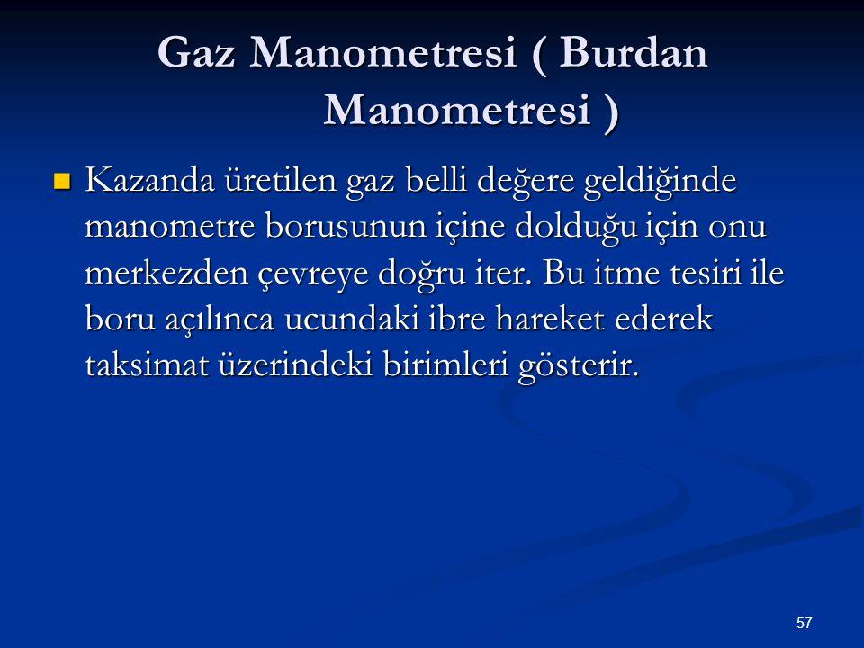 57 Gaz Manometresi ( Burdan Manometresi ) Kazanda üretilen gaz belli değere geldiğinde manometre borusunun içine dolduğu için onu merkezden çevreye doğru iter.