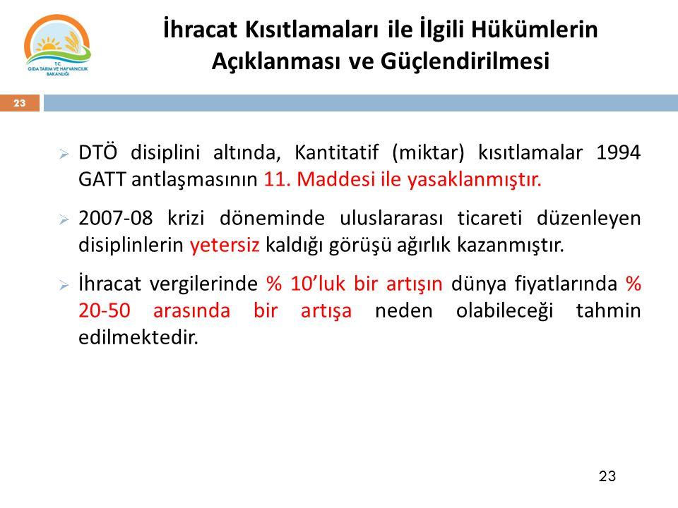 23 İhracat Kısıtlamaları ile İlgili Hükümlerin Açıklanması ve Güçlendirilmesi  DTÖ disiplini altında, Kantitatif (miktar) kısıtlamalar 1994 GATT antlaşmasının 11.