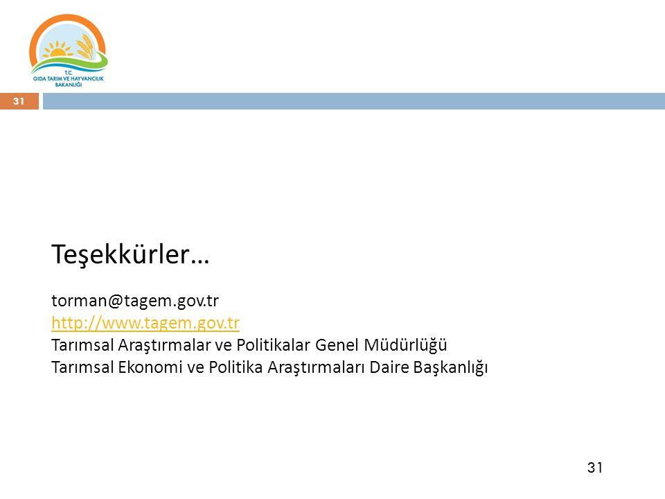 31 Teşekkürler… torman@tagem.gov.tr http://www.tagem.gov.tr Tarımsal Araştırmalar ve Politikalar Genel Müdürlüğü Tarımsal Ekonomi ve Politika Araştırmaları Daire Başkanlığı 31