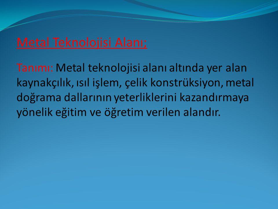 Metal Teknolojisi Alanının Amacı; Amacı: Metal Teknolojisi alanı altında yer alan dallarda, sektörün ihtiyaçları, bilimsel ve teknolojik gelişmeler doğrultusunda, gerekli olan mesleki yeterlikleri kazanmış nitelikli meslek elemanları yetiştirmek amaçlanmaktadır.