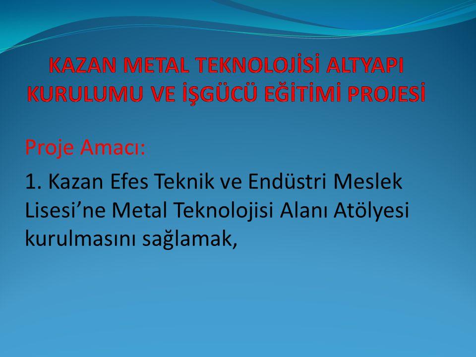 Proje Amacı: 1. Kazan Efes Teknik ve Endüstri Meslek Lisesi'ne Metal Teknolojisi Alanı Atölyesi kurulmasını sağlamak,