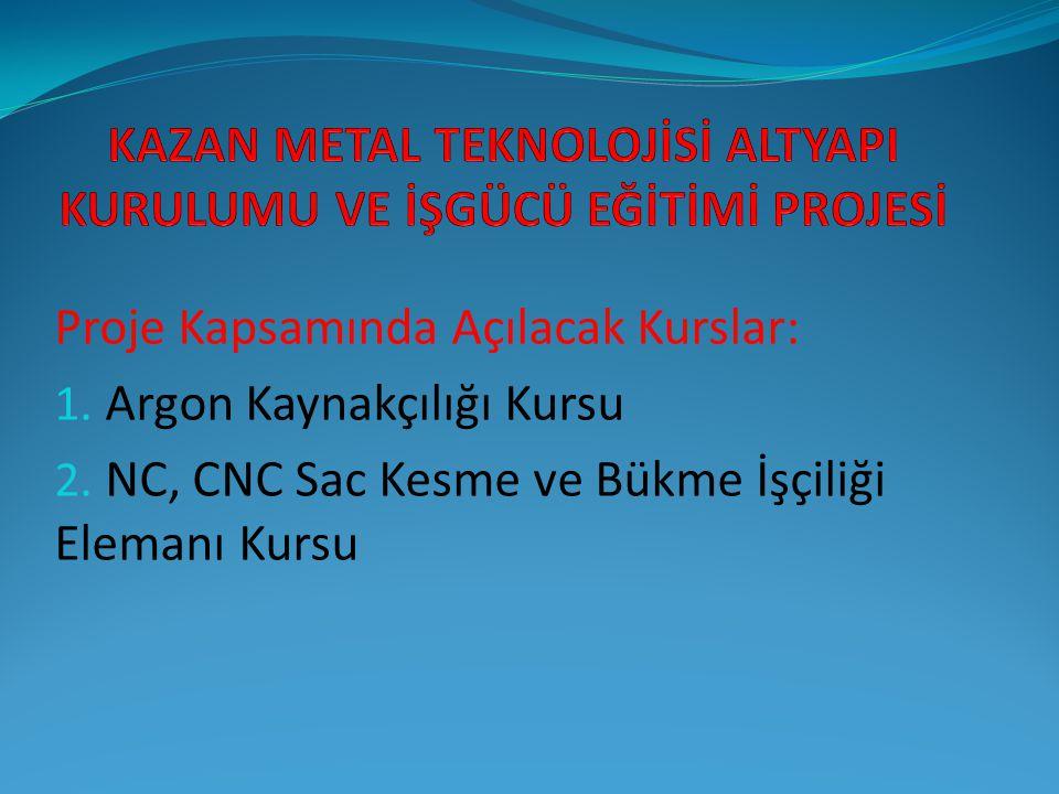 Proje Kapsamında Açılacak Kurslar: 1. Argon Kaynakçılığı Kursu 2. NC, CNC Sac Kesme ve Bükme İşçiliği Elemanı Kursu