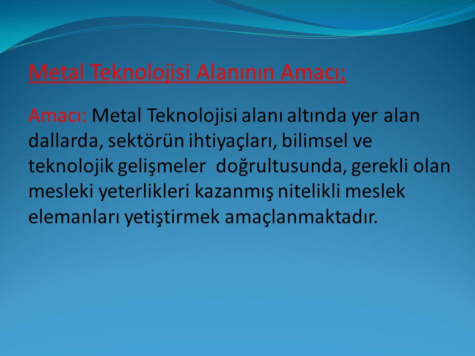 Metal Teknolojisi Alanında; Metalleri sıcak veya soğuk olarak biçimlendirme, Kaynak işleri, Isıl işlemler, Malzeme muayene yöntemleri, NC, CNC tezgâhlarında çalışma konuları verilir.
