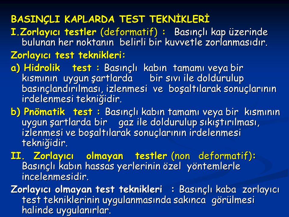 BASINÇLI KAPLARDA TEST TEKNİKLERİ I.Zorlayıcı testler (deformatif) : Basınçlı kap üzerinde bulunan her noktanın belirli bir kuvvetle zorlanmasıdır. Zo