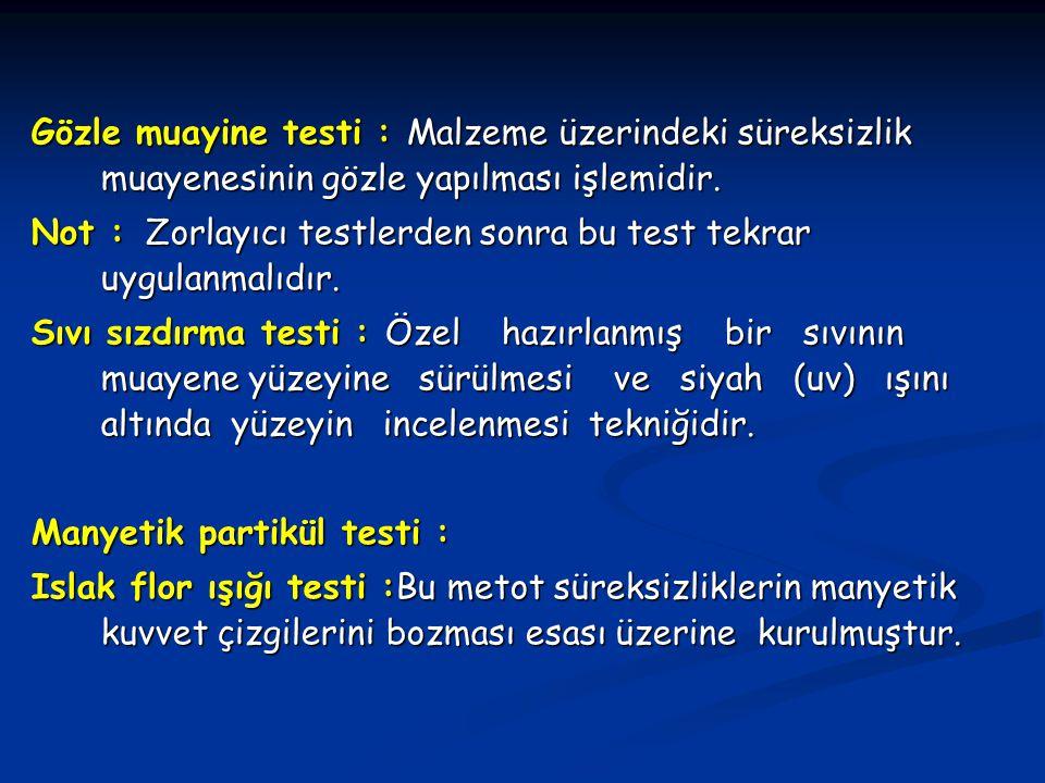 Gözle muayine testi : Malzeme üzerindeki süreksizlik muayenesinin gözle yapılması işlemidir. Not : Zorlayıcı testlerden sonra bu test tekrar uygulanma