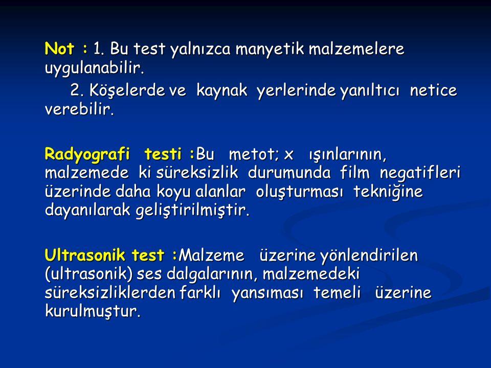 Not : 1. Bu test yalnızca manyetik malzemelere uygulanabilir. 2. Köşelerde ve kaynak yerlerinde yanıltıcı netice verebilir. 2. Köşelerde ve kaynak yer