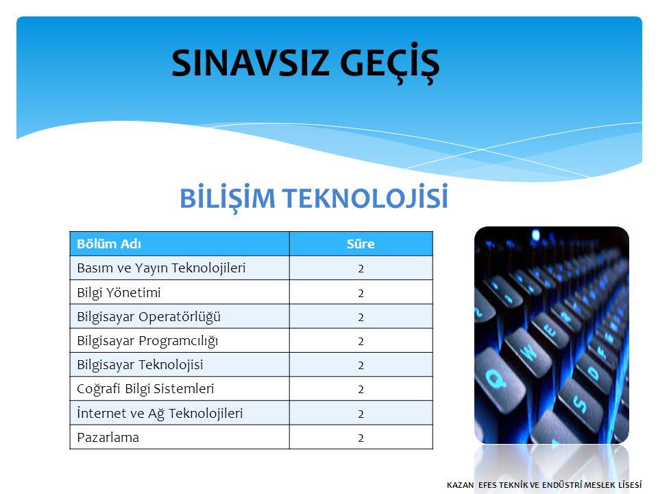 SINAVSIZ GEÇİŞ BİLİŞİM TEKNOLOJİSİ Bölüm AdıSüre Basım ve Yayın Teknolojileri2 Bilgi Yönetimi2 Bilgisayar Operatörlüğü2 Bilgisayar Programcılığı2 Bilgisayar Teknolojisi2 Coğrafi Bilgi Sistemleri2 İnternet ve Ağ Teknolojileri2 Pazarlama2 KAZAN EFES TEKNİK VE ENDÜSTRİ MESLEK LİSESİ