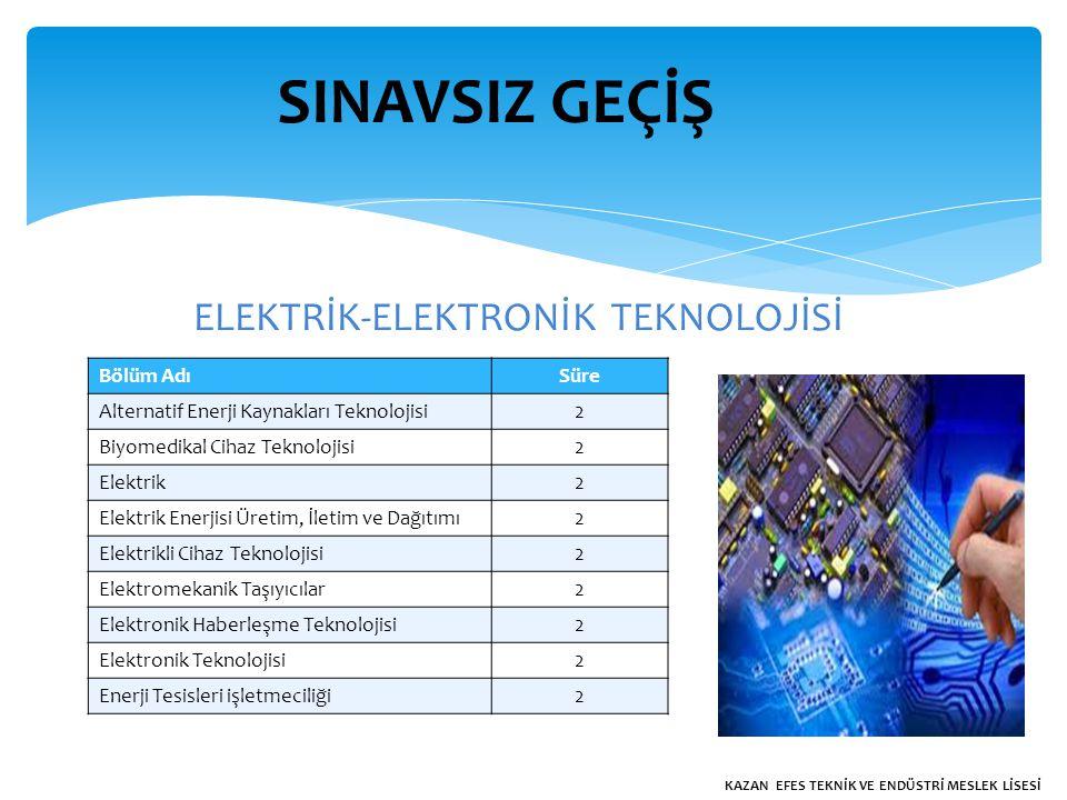 SINAVSIZ GEÇİŞ ELEKTRİK-ELEKTRONİK TEKNOLOJİSİ Bölüm AdıSüre Alternatif Enerji Kaynakları Teknolojisi2 Biyomedikal Cihaz Teknolojisi2 Elektrik2 Elektrik Enerjisi Üretim, İletim ve Dağıtımı2 Elektrikli Cihaz Teknolojisi2 Elektromekanik Taşıyıcılar2 Elektronik Haberleşme Teknolojisi2 Elektronik Teknolojisi2 Enerji Tesisleri işletmeciliği2 KAZAN EFES TEKNİK VE ENDÜSTRİ MESLEK LİSESİ