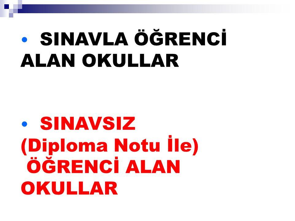 SINAVLA ÖĞRENCİ ALAN OKULLAR SINAVSIZ (Diploma Notu İle) ÖĞRENCİ ALAN OKULLAR