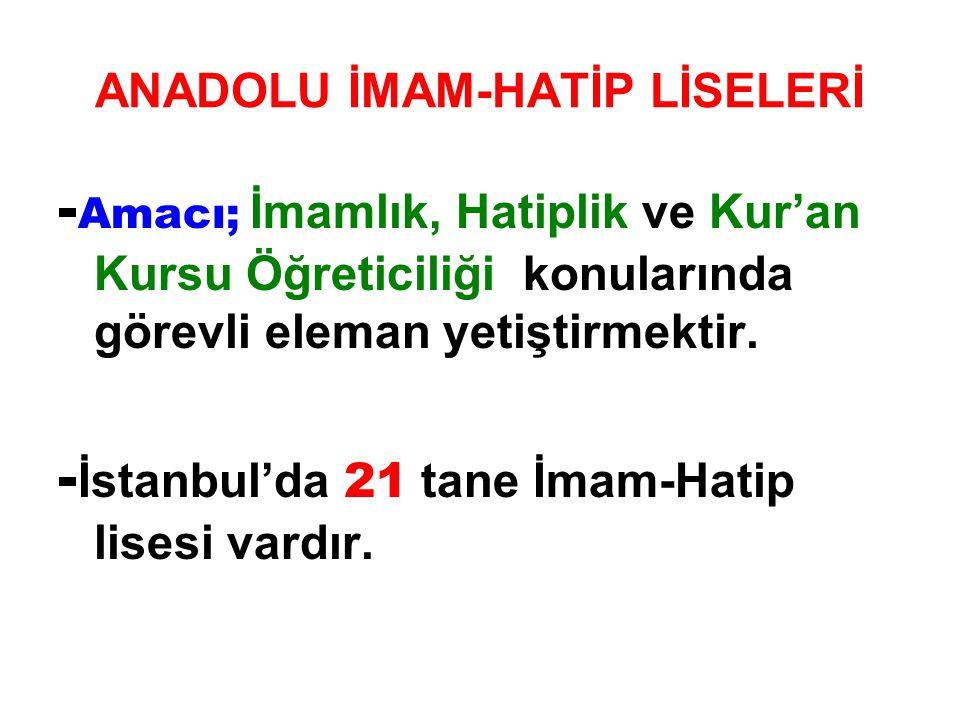 ANADOLU İMAM-HATİP LİSELERİ - Amacı; İmamlık, Hatiplik ve Kur'an Kursu Öğreticiliği konularında görevli eleman yetiştirmektir. - İstanbul'da 21 tane İ