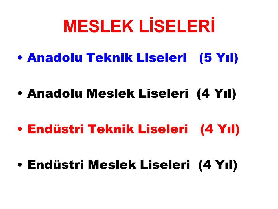 Anadolu Teknik Liseleri (5 Yıl) Anadolu Meslek Liseleri (4 Yıl) Endüstri Teknik Liseleri (4 Yıl) Endüstri Meslek Liseleri (4 Yıl)