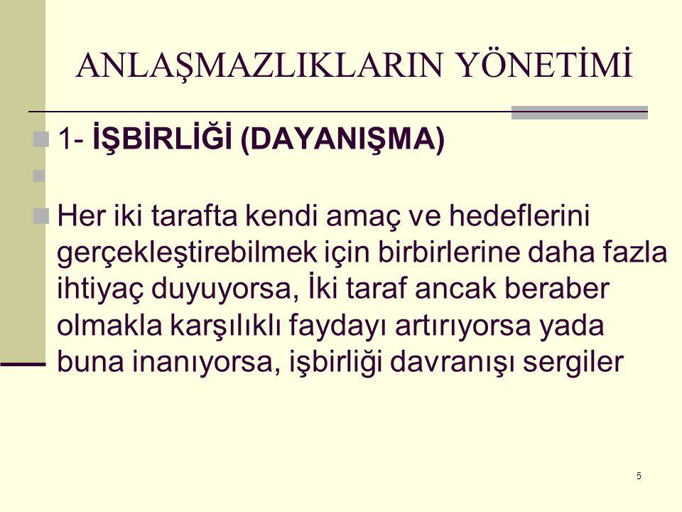 35 BÜTÜNLEŞTİRİCİ MÜZAKEREDE KULLANILAN TEMEL YÖNTEMLER 1.