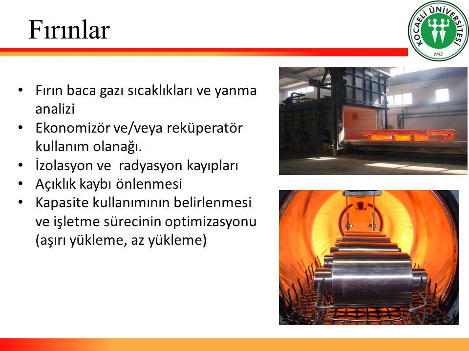 Fırınlar Fırın baca gazı sıcaklıkları ve yanma analizi Ekonomizör ve/veya reküperatör kullanım olanağı.